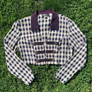 Vintage cropped open front gingham/plaid crop top